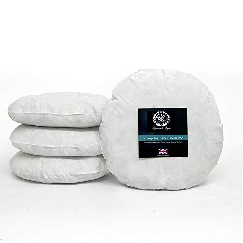 Cotton Mills- New White Extra Filled Duck Feather Round Cushion Pad Inner Insert 22'(55cm) 100% Natural Cotton -Anti Dust Mite-Non Allergenic-Machine Washable