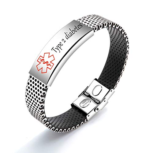 MoAndy Diabetic Alert Bracelet Type 2 Silicone Stainless Steel Bracelet 20CM Siver Red