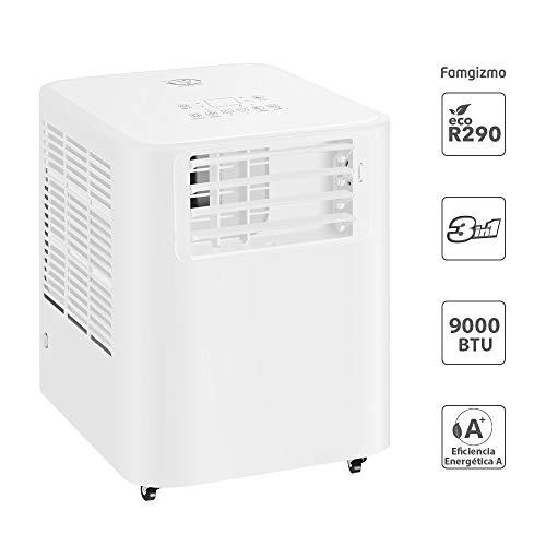 Famgizmo   3 in 1 LED Klimaanlage Mobiles Klimagerät kühlen, Luftentfeuchter, lüften, Ventilator   9000 BTU   3 Ventilationsstufen   24h Timer   EEK: A   R290   Fernbedienung   Geräuscharm   Weiß  