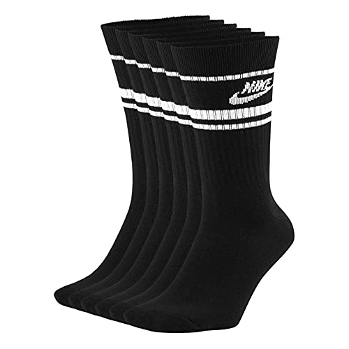 NIKE CQ0301-010 U NK CREW NSW ESSENTIAL STRIPE Socks unisex-adult black/(white) M