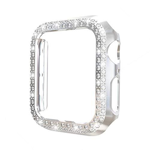 Estuche protector de relojes de cristal con diamantes de imitación, funda protectora a prueba de golpes para PC, para Apple Watch Series 6 5 4 3 2 1 SE