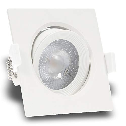5er Set MERA ultra flach 230V LED 5W eckig Weiß Decken Einbaustrahler 370 Lumen Warm-Weiß 3.000k nur 43 mm Einbautiefe