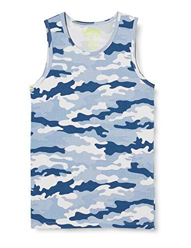 Sanetta Jungen Jumbo Unterhemd beliebten blauen Camouflage-Print, grau, 152