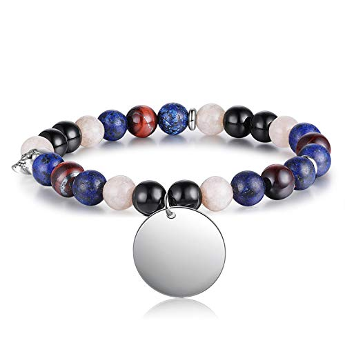 Jewellery Bracelets Bangle For Men Personalized Engraving 2 Sides Beaded Chain Bracelets Customized Stainless Steel Round Charm Bracelet Gift For Ladies