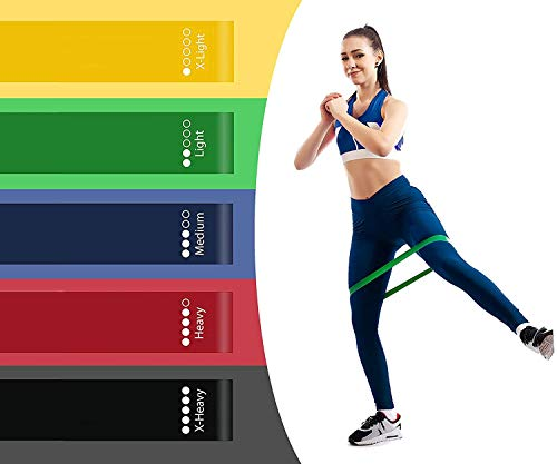 Luvina 5pcs Exercise Resistance Loop Bands for Strength Training and Physical Therapy - Fitness Mini Loops for Booty, Hips and Legs