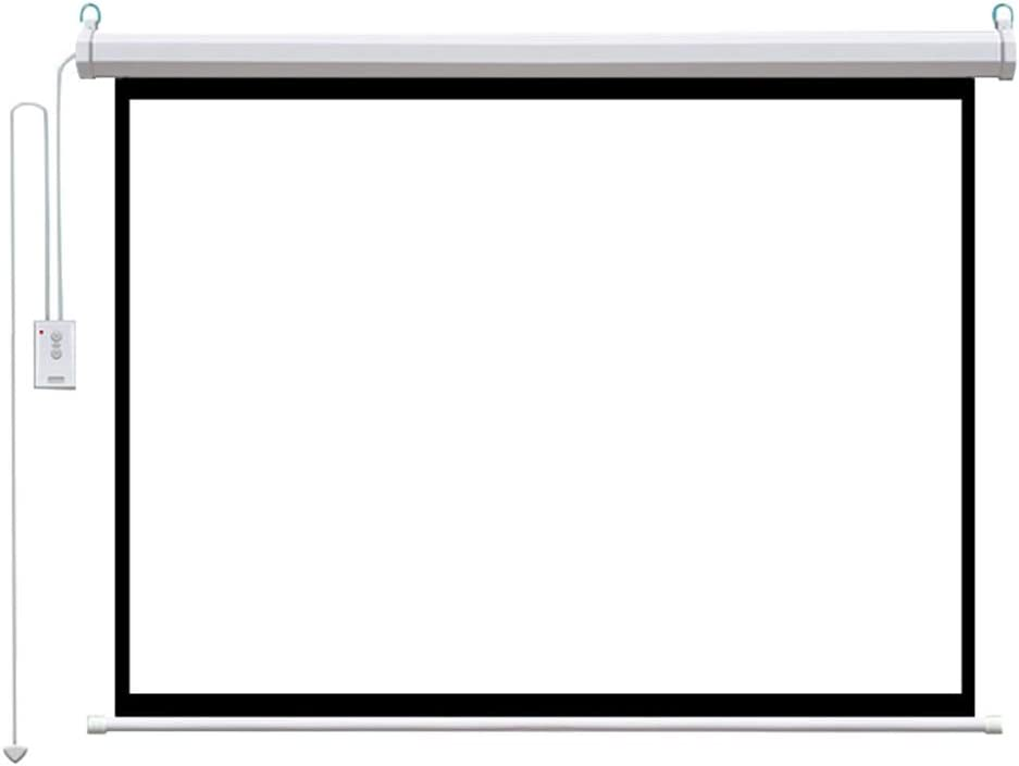 LHSG Projector Screen Electric Motorized 60/72/84 inch Remote Control Automatic Lifting Home Cinema Screen, HD Screen Wall-Mounted Projection Screen