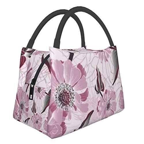 Bolsa de almuerzo portátil con aislamiento fresco (Zinnia Flower Garden Meadow Plant) 8.5L