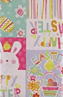 "Happy Easter Chick and Bunny Patchwork Vinyl Flannel Back Tablecloth (52"" x 52"" Square) [並行輸入品]"