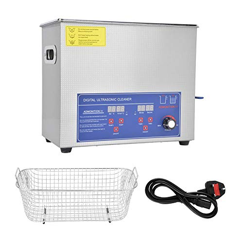 Ultrasonic Cleaner 6L, SUS304 Digital Ultrasonic Cleaner, 40KHz Industria Power Temperatura regolabile Kit di strumenti di pulizia(UK Plug 220V)
