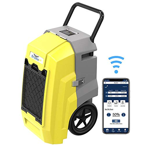 ALORAIR Storm Pro Smart WiFi Dehumidifier, 85 PPD Commercial Dehumidifier with Pump, LCD Display, Auto Shut Off, Industrial Dehumidifier for Disaster Restoration, Yellow