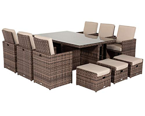Premium Truffle Brown 13 Piece Rattan Cube Set with Footstools and Outdoor Cover Deluxe Outdoor Garden Furniture