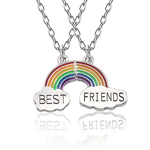Mingjun - Collana da migliori amiche, due ciondoli con arcobaleno e scritta Best Friends su 2 nuvole