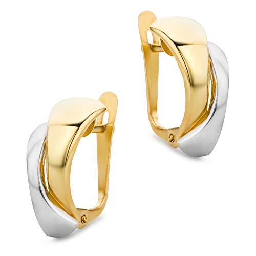 Orovi Damen Ohrringe Bicolor Gelbgold und Weißgold Creolen gekreuzt 14 Karat (585) Gold