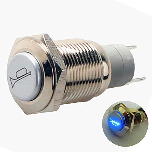 YIYIDA Horn Button Interruptor de bocina Bocina de aire 12-150 Botón del automóvil Interruptor de botón de la bocina momentáneo 12V a prueba de agua Botón de bocina Interruptor de palanca de metal