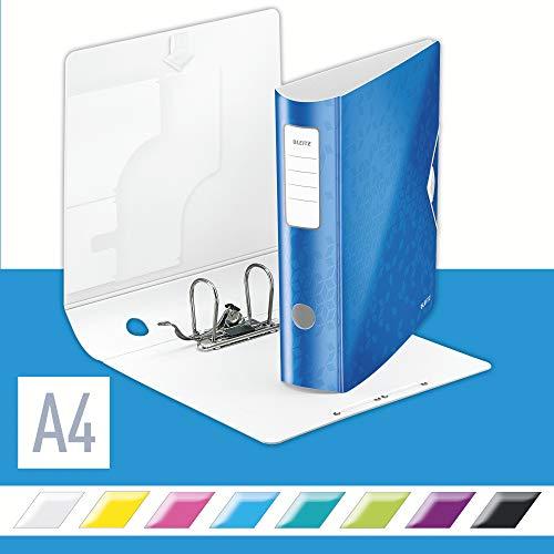Leitz 11060036 Multifunktions-Ordner (A4, Runder Rücken, (8, 2 cm Breite) Gummibandverschluss, Kunststoff, WOW) blau metallic