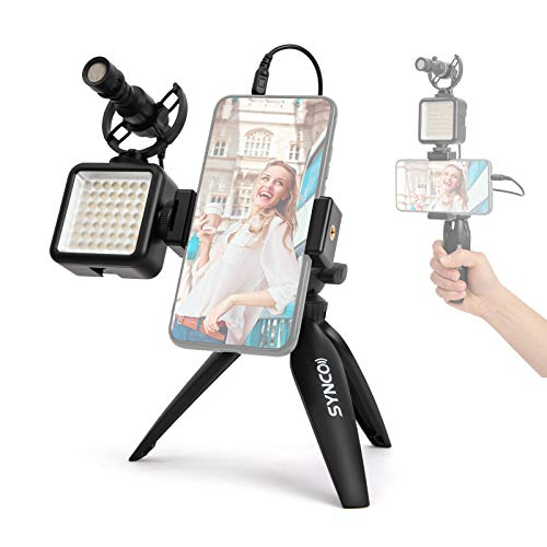 SYNCO Vlogger Kit-Microfono-Video-Smartphone-Rig con Treppiede da Tavolo e Faretto LED, Vlog Kit Smartphone con Microphone Esterno per Registrazione, Trasmissione, Streaming, Vlogging e Youtube