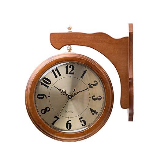 Yxx max *Pendule murales Horloge Murale à Double Face Romaine Numera Vintage Horloge Ronde Rustique avec Montage Mural côté défilement 360 degrés Rotation Salon Horloge Murale