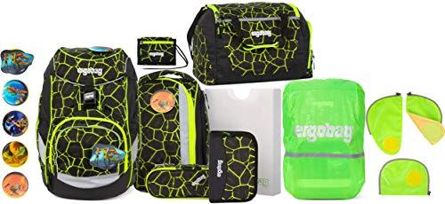 ergobag Pack LUMI-Edition DrachenfliegBär Schulrucksack-Set 6tlg. + Sporttasche + Brustbeutel + Sicherheitsset & Regencape Grün