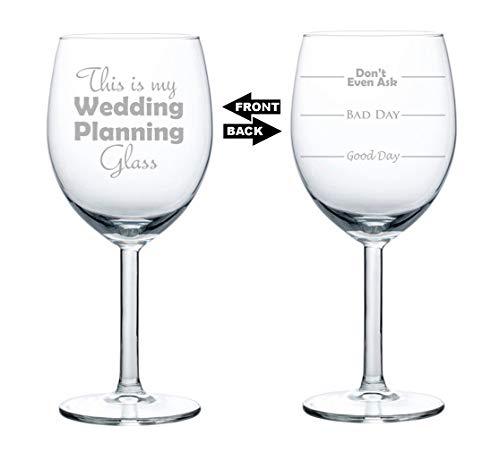 Copa de vino de dos caras para el buen día del mal día, no preguntes esto es mi copa de planificación de boda 280 g cristal