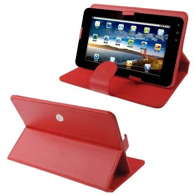 MKOKO Funda Funda de Piel Desmontable de la Textura del lichí con Magia Cinta y Titular de 9 Pulgadas Tablet PC, tamaño Ajustable Anti-arañazos (Color : Red)