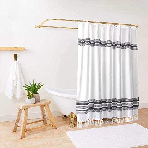 Boho Farmhouse Shower Curtain / Black and White Boho Farmhouse Shower Curtain / Standard Boho Farmhouse Shower Curtain Size 72x72 / Hooks Included with Black and White Boho Farmhouse Shower Curtain