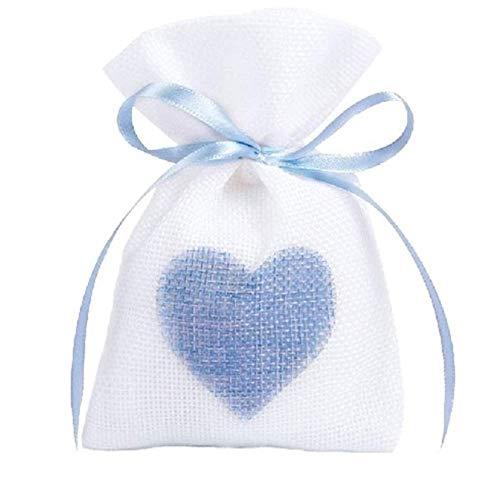 Gudotra 50pz Sacchetti Portaconfetti Bianco con Cuore Blu in Cotone Tela Bustina Bomboniere Confetti Regalo Gioielli per Matrimonio Battesimo Compleanno Natale 10 * 14CM