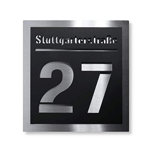 Metzler Hausnummer-Schild moderne Edelstahl-Plakette - Acrylglas-Platte mit Straßenname, Nummer & Montagematerial - Unterputz