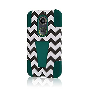 Motorola Moto X Case  2nd Gen 2014   XT1096  MPERO IMPACT X Series Dual Layered Tough Durable Shock Absorbing Silicone Polycarbonate Hybrid Kickstand Case for Moto X  2nd Gen 2014  [Perfect Fit & Precise Port Cut Outs] - Teal Chevron