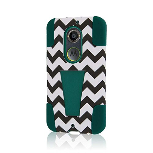 Motorola Moto X Case (2nd Gen 2014) (XT1096), MPERO IMPACT X Series Dual Layered Tough Durable Shock Absorbing Silicone Polycarbonate Hybrid Kickstand Case for Moto X (2nd Gen 2014) [Perfect Fit & Precise Port Cut Outs] - Teal Chevron