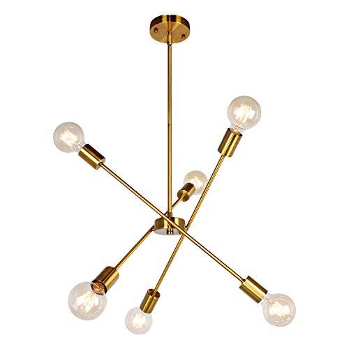 JHLBYL Sputnik Lampadario in Metallo Moderni 6 Luci Lampada a Sospensione Regolabile Oro Vintage per Soggiorno Cucina Camera da Letto Sala da Pranzo
