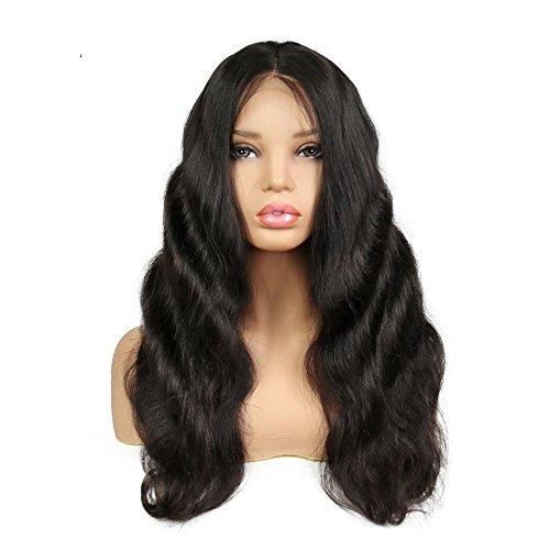 Sun Goddess 250 % De Densité Positive Dentelle Vague Corps Cheveux Naturels Perruque Black,Naturel,22Cm