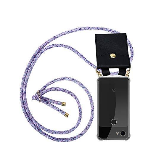 Cadorabo Handy Kette für Google Pixel 3a in Unicorn - Silikon Necklace Umhänge Hülle mit Gold Ringen, Kordel Band Schnur und abnehmbarem Etui – Schutzhülle