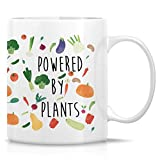 Powered by Plants - Taza de café vegetariana vegana de 325 ml, taza de café con texto 'Home & Living', 325 ml