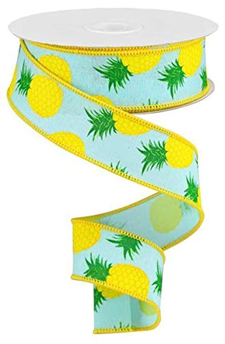 Pineapples Wired Edge Ribbon, 10 Yards (Robins Egg Blue, 1.5