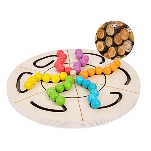 Nikula Puzzle Pattern Blocks Brain Teasers Jeu de Reconnaissance des Couleurs avec 42 Perles colorées et 10 Cartes Montessori STEM Jouets éducatifs Cadeau pour Enfants Adultes Sweetie