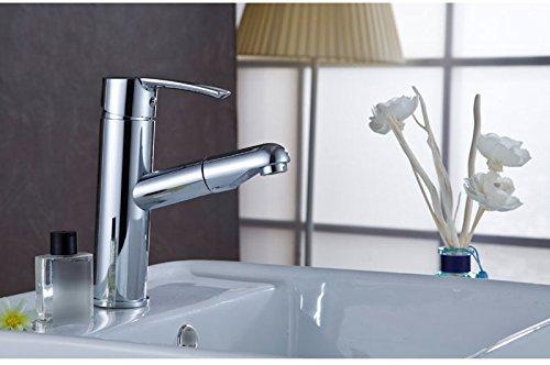 QXHELI kraan, voor warm en koud water, koper, kraan, kraan, voor het gezicht, vierkant, rekt uit van shampoo.