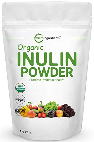 Organic Inulin FOS Powder (From Jerusalem Artichoke), 1KG (35 Ounce), Prebiotic Intestinal Support, Colon and Gut Health, Natural Water Soluble Fibers for Smoothie and Drinks, No GMOs & Vegan Friendly