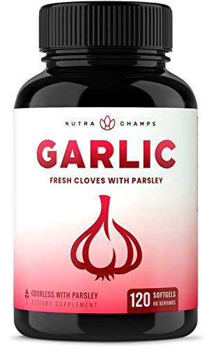 Odorless Garlic Pills [Extra Strength Softgels] 1000mg Immune Support Supplement - Heart, Blood Pressure & Cholesterol Support Capsules - Enhanced w/Parsley, Chlorophyll & Aged Black Garlic Extract
