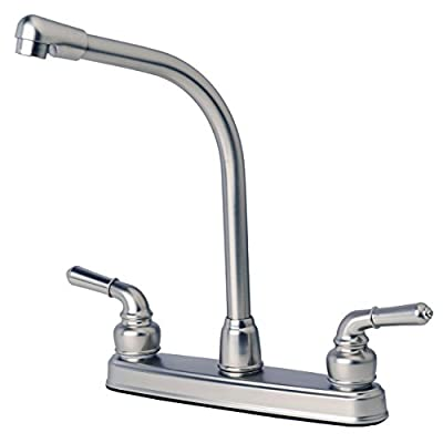 Laguna Brass Builders Shoppe 1200SS RV Mobile Home Non-Metallic High Rise Swivel Kitchen Sink Faucet Stainless Steel Finish by Builders Shoppe