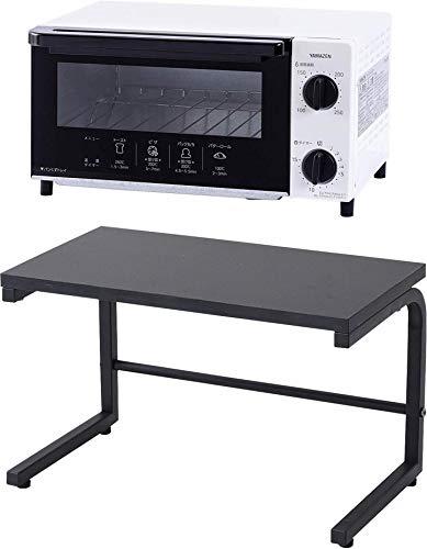 【オーブントースター&レンジ上ラック】 山善 オーブントースター 温度調整機能付き 1000W ホワイト YTN-C101(W)【メーカー純正品】専用レンジ上ラック ブラック RKS-4022(BK)