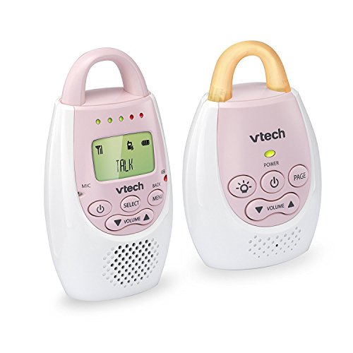 VTech BA72211PK Pink Audio Baby Monitor with up to 1,000 ft of Range, Vibrating Sound-Alert, Talk Back Intercom & Night Light Loop