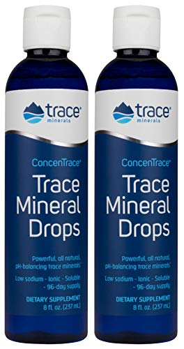 Concentrace Trace Mineral Drops. Magnesium, Chloride, Potassium. Ionic Sea Minerals from the Great Salt Lake in Utah. Hydration. Electrolyte. Performance. Energy. No sugar. 2 pack of 8 oz bottle