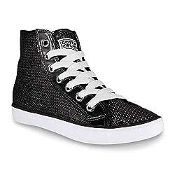 GOTTA FLURT Disco II Fashion Sneakers for Women - Hi-Top Sequin Lace-Up Shoes