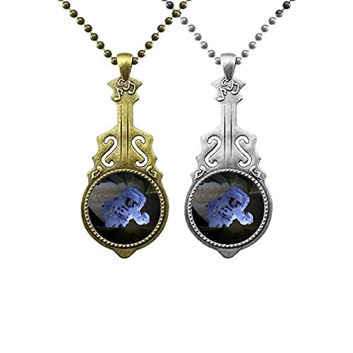 Halskette mit Anhänger, Galaxie, Astronaut, dunkler Nachthimmel, Musik, Gitarre, Schmuck