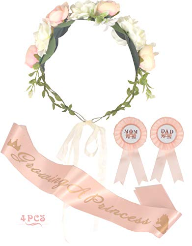 Baby Shower Decoration for Girl, Mother To Be Flower Crown, Growing a Princess Sash, Mommy to be Pin, Dad To Be Pin, Baby Shower Party Favors Decorations Gift, Mother to be Sash, It's a Girl