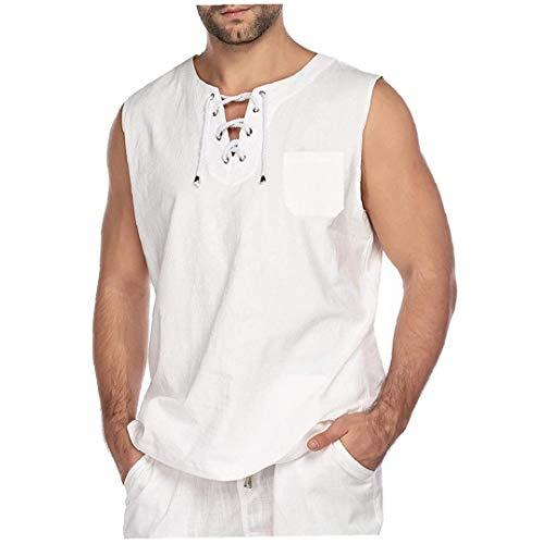 Ohomr Moda Hombres Camiseta de algodón T-Hippie Camisetas sin Mangas de la...