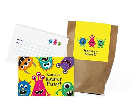 Juego de 12 tarjetas de invitación de monstruos y bolsas de fiesta, para cumpleaños infantiles, bolsas de regalo, visitas a la vista, monstruos, invitaciones de cumpleaños