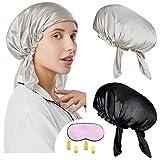 YMHPRIDE 2 paquetes Gorro de dormir 100% seda de morera Gorro de noche con envoltura para el cabello Silk Cover,19 Momme Suave transpirable con antifaz para dormir-B
