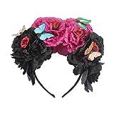 XuHangFF - Diadema de flores de peonía colorida para Halloween, diseño de mariposa, corona mexicana para cosplay