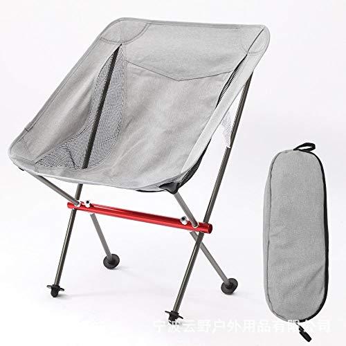Folding chair Silla Plegable de Moda al Aire Libre Silla de Pesca portátil Silla Plegable de aleación de Aluminio para Acampar Negro Gris